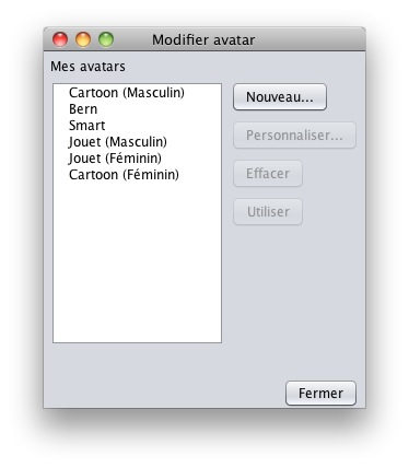 French Avatar Selection UI
