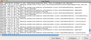 Error Log window