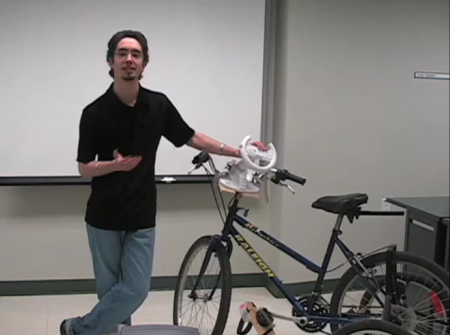 Bicycle instrumented with SunSPOT and Wii Remote