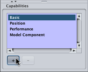 "Click the ""plus"" to add a capability"