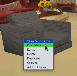 Chair context menu