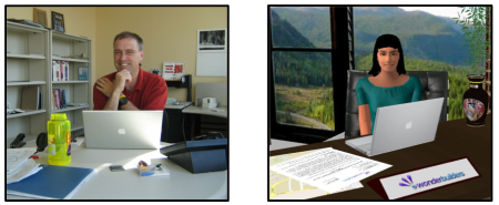 Dave Douglas in a physical office; Nicole's avatar in a virtual office.