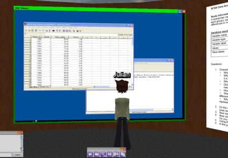 SPSS Application displayed in VNC Viewer in Breakout Room 1, with VNC controls.